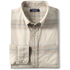 Lands' End Men's Tall Traditional Fit Lightweight Cotton Shirt (€51) ❤ liked on Polyvore featuring men's fashion, men's clothing, men's shirts, men's casual shirts, tan, mens french cuff shirts, mens button up shirts, mens button down shirts, mens button down collar shirts and lands end mens shirts