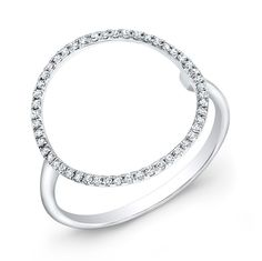 At Anne Sisteron Fine Jewelry, Buy white gold diamond open circle diamond ring online White Gold Jewelry, White Gold Rings, White Gold Diamonds, Diamond Jewelry, Diamond Earrings, Gold Jewellery, Rose Gold, Circle Diamond Rings, Geometric Jewelry