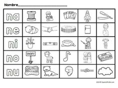Pin this! Activities, worksheets and visuals in Spanish that go with the letter N or na ne ni no nu. Ideal for preschool, kindergarten or first grade bilingual classrooms. Fun games, vocabulary cards, worksheet- printables in Spanish. #naneninonu #bilingualkindergarten
