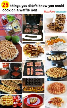 25 Things You Didn't Know You Could Cook On A Waffle Iron [love the bacon and burger ideas . but i'd do breakfast sausage patties! Breakfast Desayunos, Breakfast Recipes, Breakfast Healthy, Good Food, Yummy Food, Tasty, Poffertjes, Waffle Maker Recipes, Foods With Iron