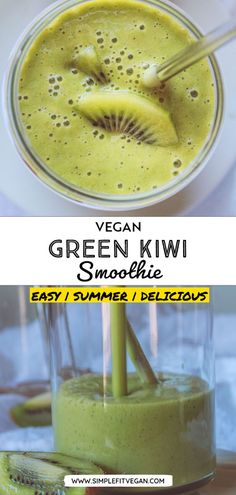 This green smoothie is full of vitamins and antioxidants. It is a perfect healthy smoothie that will give the energy to take on the day! #smoothie #vegansmoothie #kiwi Smoothie Bowl Vegan, Smoothies Detox, Vegan Smoothie Recipes, Kiwi Smoothie, Healthy Green Smoothies, Vegan Blogs, Vegan Dinner Recipes, Delicious Vegan Recipes, Raw Food Recipes