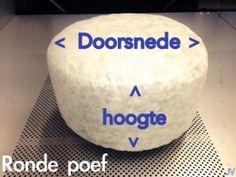 Ronde poef vulling wit doorsnede 45 cm hoogte 20 cm