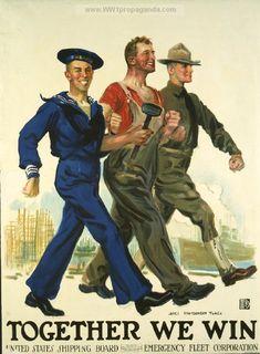 Together We Win James Montgomery Flagg Vintage Patriotic WWI War Bonds Poster Print Ww1 Propaganda Posters, Communist Propaganda, Political Posters, Patriotic Posters, Patriotic Images, Doodle, World War One, Military Art, Military History