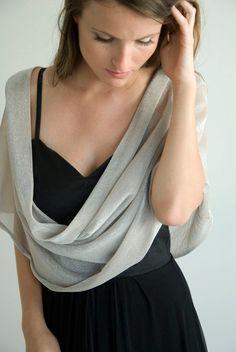 Silver sparkling  shawl. 4 wearing options shrug shawl by noavider, $42.00 #fashion, #bridesmaid