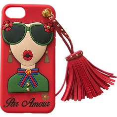 iPhone 7  Par Amour Red Case with Tassel (175 RON) ❤ liked on Polyvore featuring accessories, tech accessories, phone and tech