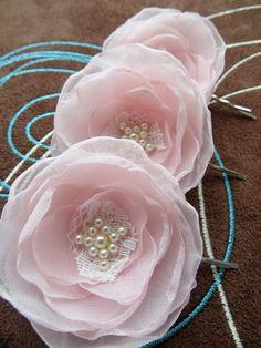 Blush pink bridal flower hair clips 3 pcs bridal by LeFleurShop