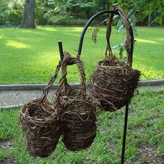 Set of 3 Oriole Twig Baskets Rustic Flower Girl Wicker Shabby Chic Outdoor Country Decor Virginia Creeper Ivy
