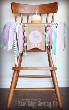 CAROUSEL HORSE Birthday High Chair Highchair Banner Party Photo Prop Bunting Backdrop Vintage Aqua Pink Burlap Fabric County Fair Custom