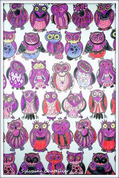Auteur: Sylvaine Chatellier - Revue: Coloriage Passion n°10 - Éditions MEGASTAR® France. Colouring, Owl, Passion, Colorful, France, Animaux, Owls, French