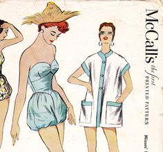 Vintage 1950s swimsuit / playsuit sewing pattern by glassoffashion