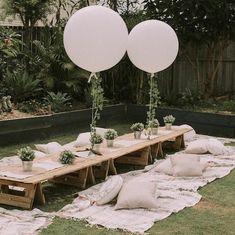 result for big orb balloons Backyard Birthday, Backyard Picnic, Picnic Birthday, Bohemian Birthday Party, Garden Picnic, Birthday Party Tables, Boho Garden Party, Outdoor Dinner Parties, Picnic Parties