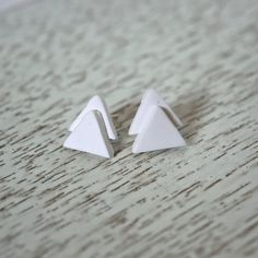 White Triangle Polymer Clay Stud Earrings by LittlestOven on Etsy
