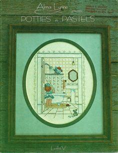 Alma Lynne Potties in Pastels V bath Cross Stitch Pattern girl peeking in shower #AlmaLynne #Forframing