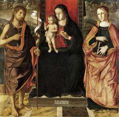Marco Palmezzano - Madonna con Bambino in trono tra i Santi Giovanni Battista e Margherita, 1492