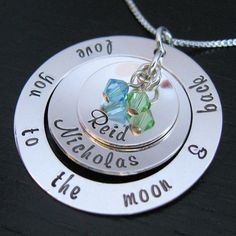 CAMERON - Brisa Washer w Chloe Double Cup with 2 crystals mother necklace (love you to the moon & back)