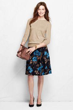 Women's Pattern Woven Sateen Skirt from Lands' End