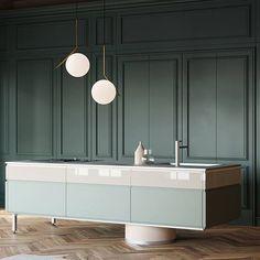 Kitchen design in tones of green