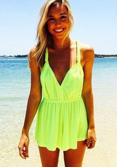 Neon dresses are made for sunny days.