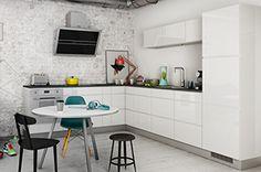 Opplev Mano: Håndtaksfritt, hvitt kjøkken i kul dansk design Light Well, Kitchen Pictures, Cabinet, Table, Furniture, Home Decor, Deens, High Gloss, Danish