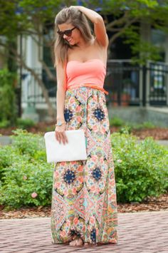 What's The Pattern Maxi Dress, Neon Coral