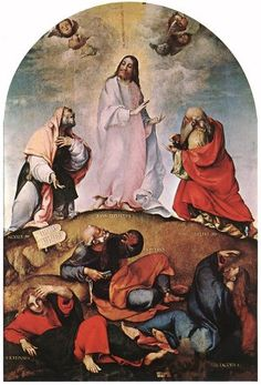 """Jesus Transfigured.    BIBLE SCRIPTURE: Mark 9:2, """"And after six days Jesus taketh with him Peter, and James, and John, and leadeth them up into an high mountain apart by themselves: and he was transfigured before them."""""""