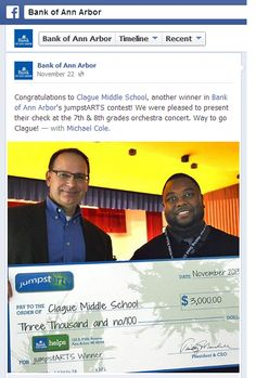 How Bank of Ann Arbor used Facebook to #crowdsource its JumpstARTS program, donate $36,000 to local schools, and reach 170K Facebook users with @CafeGive.""