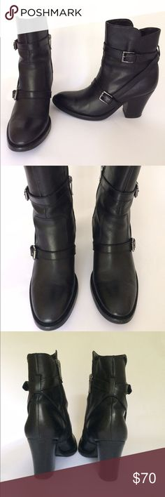 BIG PRICE CUT - Via Spiga black leather shoot🍂 BIG PRICE CUT before holiday hiatus -/ Glossy black short boots with criss-cross straps. Inside zip, 3 inch heel. Size 7.5. Unable to find style description in boot but says leather on the bottom. . There is wear on the back of the heels but these are still great used condition. Via Spiga Shoes Ankle Boots & Booties