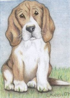 ACEO print 'Hound dog ' ACEO by Carole Keen | ArtCardsWanted.com