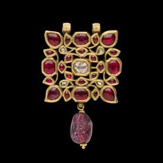 Square Ruby and Diamond Drop Pendent,South India Century Mughal Jewelry, Antic Jewellery, Indian Jewelry Earrings, Royal Jewelry, Gold Jewellery Design, Antique Jewelry, Gold Jewelry, Antique Gold, Jewlery