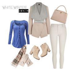 """""""White winter denim"""" by azraa-tursunovic ❤ liked on Polyvore featuring Oasis, River Island, Laurence Dacade, Louis Vuitton and Burberry"""