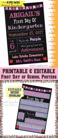 """This 11""""x17"""" EDITABLE First Day of School Sign can be re-used year after year so you can see how your child grows and changes over time! Your children will thank you for capturing their sweet first day memories with this photo prop! 