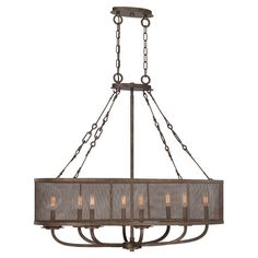 $683Featuring a candelabra-inspired design surrounded by a meshed shade, this gilded bronze-finished chandelier casts a rustic glow over your decor....