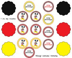 I like big freebies: Mickey Mouse cupcake toppers (free printable) Mickey Mouse Cake Topper, Mickey Mouse Bday, Mickey Mouse Cupcakes, Mickey Mouse Clubhouse Party, Mickey Mouse Parties, Mickey Party, Mickey Mouse Birthday, Imprimibles Mickey Mouse, Theme Mickey
