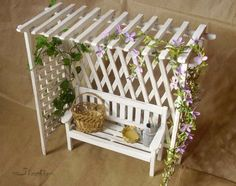 Miniature and doll houses: Top 5 pergola (wonderful pictures of how . - Miniatures and doll houses: Top 5 pergola (wonderful pictures of how to w … – - Popsicle Stick Houses, Popsicle Crafts, Craft Stick Crafts, Diy And Crafts, Crafts For Kids, Popsicle House, Craft Sticks, Fairy Crafts, Garden Crafts