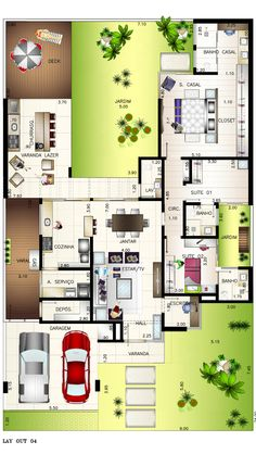 Planta - casa de 190m2 em condomínio fechado para casal recém-casado Simple House Plans, Tiny House Plans, House Floor Plans, Contemporary House Plans, Modern House Design, Florida House Plans, 2 Bedroom House Plans, Modern Bungalow House, Rustic Houses Exterior