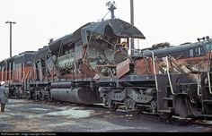 Well, these things clearly are not as indestructible as they seem up close.  RailPictures.Net Photo by Tom Farence
