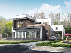 홈트리오 - 내 집 짓기의 시작 Minimalist House Design, Minimalist Home, Commercial Design, Interior Architecture, Exterior, Mansions, House Styles, Home Decor, Architecture Interior Design