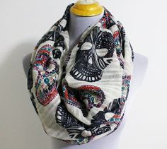 Hey, I found this really awesome Etsy listing at https://www.etsy.com/listing/170471439/light-cream-skull-infinity-scarf
