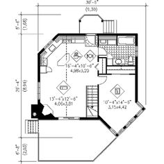 Contemporary Style House Plan - 1 Beds 1 Baths 696 Sq/Ft Plan #25-4192 Floor Plan - Main Floor Plan - Houseplans.com