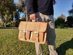 Leather Briefcase Men. Messenger Bag. Leather Laptop Bag - Professional Shoulder Bag - College Bag. Cowhide Leather - Handmade in Greece. by LeatherStrata on Etsy