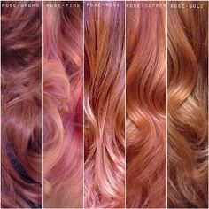 Shades of ROSE is the color for the summer. Here is a pallet of different shades of Rose that I have created. •Rose-Brown •Rose-Pink •Rose-Rose •Rose-Copper •Rose-Gold Which one would you wear? #TAG a friend that needs some Rose in their lives. #hairbylarisalove