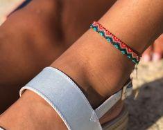 Ankle strap on Miyuki - Adriana Aristizabal Loom Bracelet Patterns, Bead Loom Patterns, Loom Bracelets, Ankle Bracelets, Beading Patterns, Friendship Bracelets, Ankle Chain, Ankle Strap, Bead Embroidery Jewelry