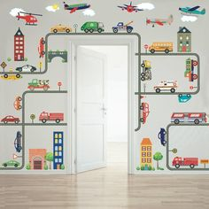 Busy Transportation Town Wall Decals, EMS Vehicles, Cars, Recycle Truck, Buses, Taxi, Trucks, Helicopter and Airplanes plus Gray Road Curved and Straight - Wall Dressed Up - 1