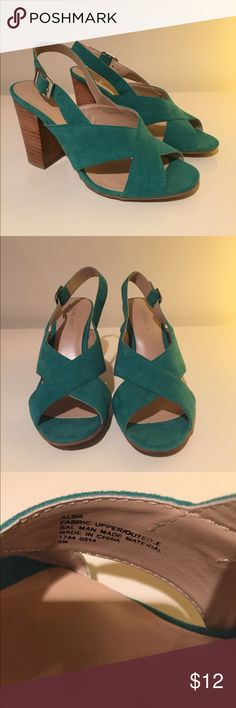 "Nine West Alba Heels Nine West Alba Heels in Turquoise. Open Toe Slingback with Side Buckle. Approximate Heel Height 3 3/4."" Great Condition - Tried on a few times but never worn. Size 6 Nine West Shoes"