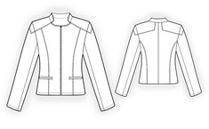 Leather Jacket  - Sewing Pattern #4101 Made-to-measure sewing pattern from Lekala with free online download.