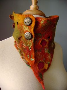 VOLCANO Hand felted asymmetrical Avant-garde art scarf / neckwarmer / chocker / necklace wool silk OOAK fiber art by VitalTemptation , Etsy, via Flickr