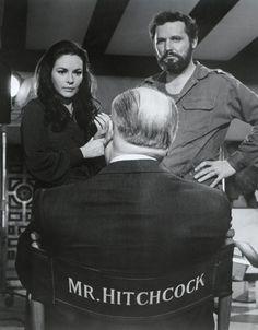 Alfred Hitchcock, Karin Dor, and John Vernon on the set of Topaz (1969)
