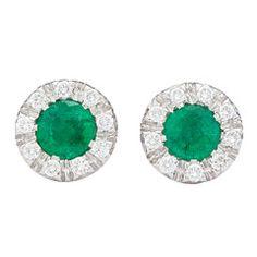 Favero Emerald Diamond Stud Earrings