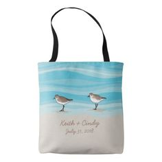 #bride - #Sandpipers on Beach Wedding Date Names in Sand Tote Bag