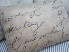 PaRiS FRenCH SCriPT & TicKinG PiLLoW by Sassycatcreations on Etsy